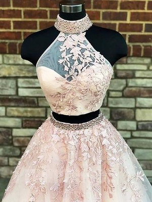 Chic Halter Two Piece Applique Prom Dresses Lace Up Crystal Sexy Evening Dresses with Beads_2