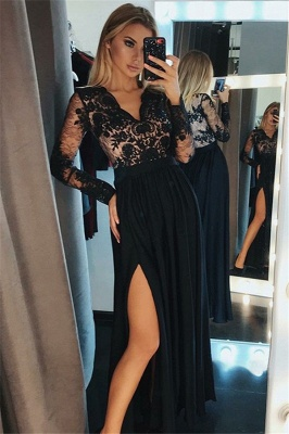 Side-Slit Lace V-Neck Prom DressesBlack Tulle Long Sleeves Sexy Evening Dresses Cheap_2