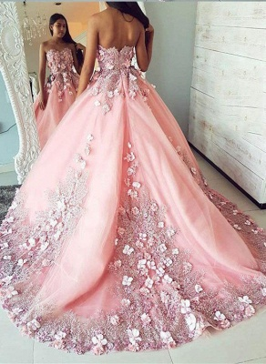 Romactic Pink Flower Sweetheart Applique Prom Dresses Ribbons Ball Gown Sleeveless Sexy Evening Dresses with Beads_2