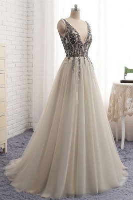 Glamorous V-Neck Crystal Applique Prom Dresses Side slit Backless Sleeveless Sexy Evening Dresses_3