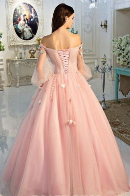 Glamorous Flower Off-The-Shoulder Applique Prom Dresses Lace-Up Ball Gown Longsleeves Sexy Evening Dresses_3