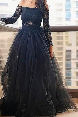 Black Long Sleeves Lace Bateau Prom Dresses Tulle Cheap Sexy Evening Dresses with Belt_2