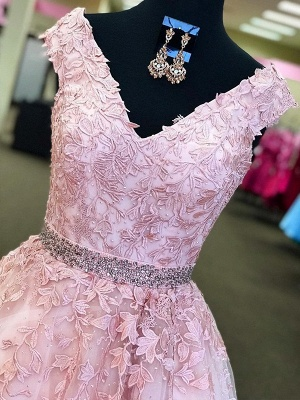 Romactic Pink Off-the-Shoulder Prom Dresses Applique Crystal Sleeveless Sexy Evening Dresses with Belt_2