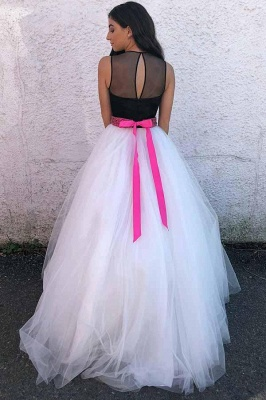 Gorgeous Sheer Jewel Ribbon Beads Prom Dresses Sleeveless Sexy Evening Dresses with Bowknot_2