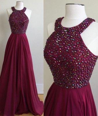 Crystal Jewel Prom Dresses Cheap Sheer Sleeveless Sexy Evening Dresses_2