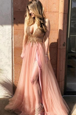 Chic Beads Applique Prom Dresses Side slit Sleeveless Sexy Evening Dresses_1