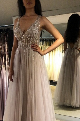 V-Neck Crystal Open Back Prom Dresses Tulle Cheap Sleeveless Sexy Evening Dresses_2