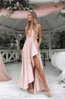 Gorgeous Straps Prom Dresses Side slit A-Line Sleeveless Sexy Evening Dresses_1