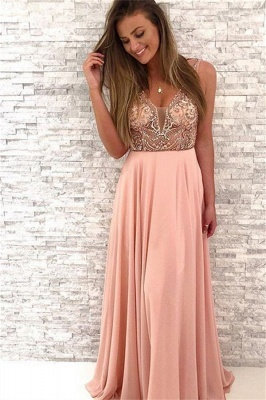 Sequin Straps Applique Prom Dresses Cheap Sleeveless Sexy Evening Dresses_1