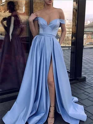 Chic Off-the-Shoulder Sleeveless Prom Dresses Side Slit Sexy Evening Dresses Cheap_2