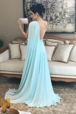 Chic Ruffle Applique Oneshoulder Prom Dresses A-Line Over-Skirt Sleeveless Sexy Evening Dresses_3