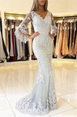 V-neck Long Sleeves Floor Length Lace Prom Dresses | Elegant Long Evening Dresses