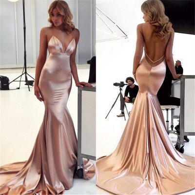 Floor Length Spaghetti Straps V-neck Silky Prom Dresses | Long Sexy Evening Dresses_2