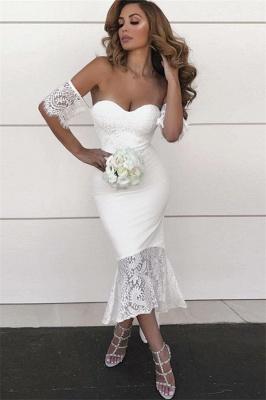 Simple Mermaid Hi-Lo Bridesmaid Dresses | Off-the-Shoulder Maid of the Honor Dress_3