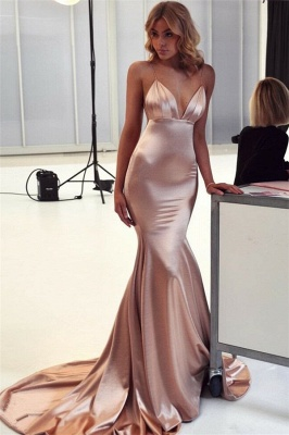 Floor Length Spaghetti Straps V-neck Silky Prom Dresses | Long Sexy Evening Dresses