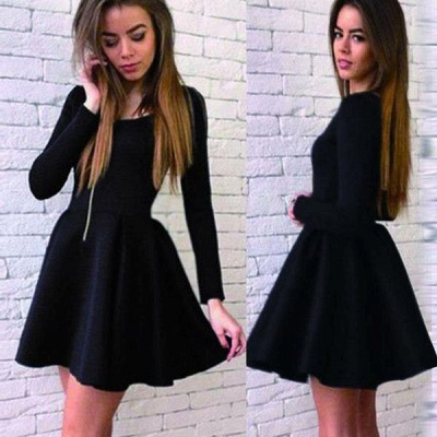 Black Short Long-Sleeves Sexy A-line Homecoming Dresses 2018_3
