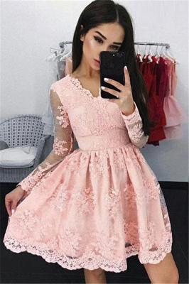 Pink V-neck A-line Long-sleeves Short Lace Cocktail Dress_3