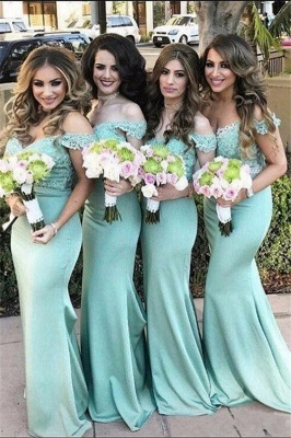 Lace Mint Off-the-Shoulder Long Mermaid Bridesmaid Dress_2