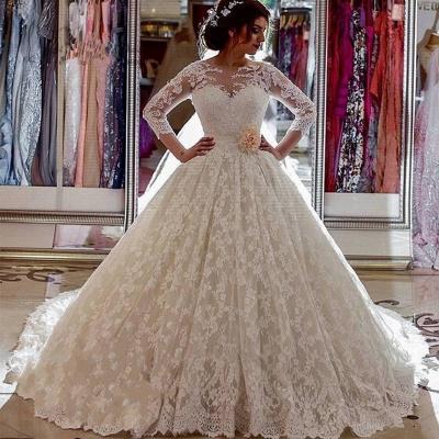 Long Sleeves Lace Sheer Vintage Church-Train Illusion Ball-Gown Arabic Wedding Dress_3