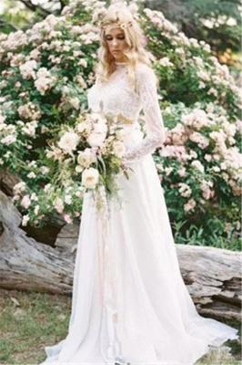 Two-Piece Long-Sleeves Chiffon Lace A-line Elegant Wedding Dresses_4