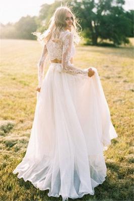 Two-Piece Long-Sleeves Chiffon Lace A-line Elegant Wedding Dresses_3