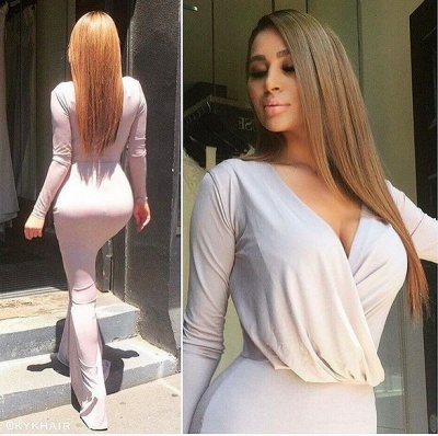 Elegant Long Sleeves V-neck Sheath Floor-length Bridesmaid Dress_3