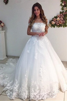 White Ball Gown Wedding Dresses | Off-the-Shoulder Puffy Bridal Gowns_2