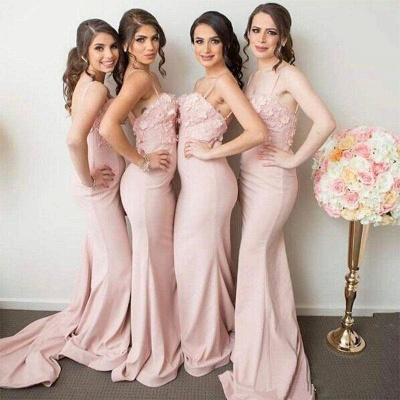 Spaghettis-Straps 3D-Floral-Appliques Mermaid Pink Bridesmaid Dresses_3
