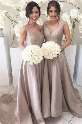 Stretch-Satin Simple V-neck Sleeveless Sheer-Tulle Open-Back Bridesmaid Dress_2