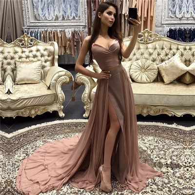 A-line Straps layers Long Sexy Side-Slit Prom Dresses_3
