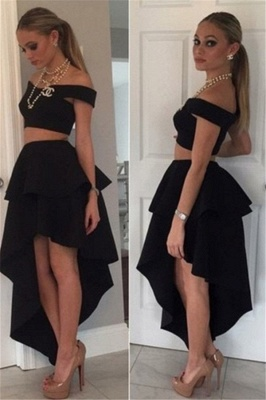 Black Off-the-shoulder Two-Piece Tiered Cheap Irregular Homecoming Dresses_2