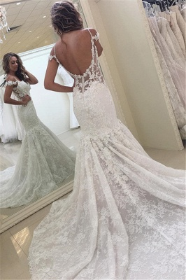 Off-the-shoulder Lace Fit and Flare Modern Wedding Dresses_2
