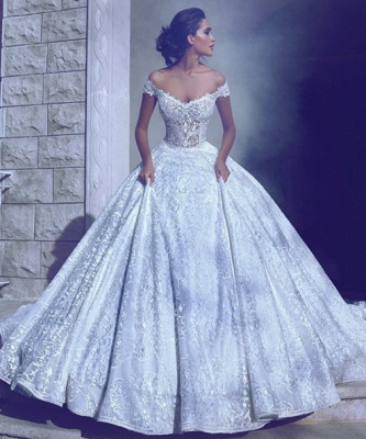 Glamorous Off-The-Shoulder Ball-Gown Long Wedding Dresses_3