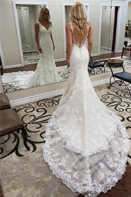 Straps V Neck Beackless Applique Charpel Train Fitted  Mermaid Wedding Dresses