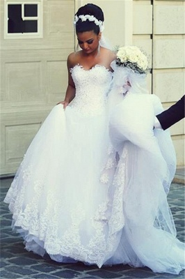 Newest A-line Sweetheart Sleeveless Lace Wedding Dress_3