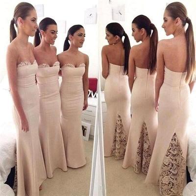 Elegant Sweetheart Lace Mermaid Long Bridesmaid Dress_3