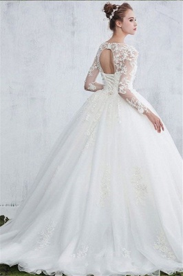 Sexy White Gown Ball Jewel Long-Sleeve Lace Wedding Dresses_3