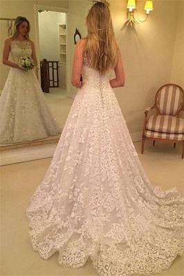 Sweep-Train Lace Buttons Spaghetti-Straps Sleeveless Wedding Dress_3