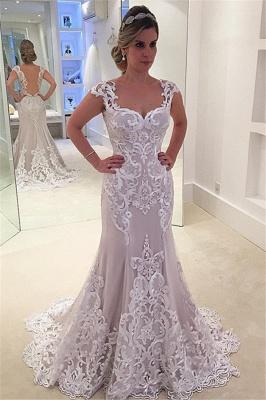 Elegant Cap-sleeve Floor-length Lace Mermaid Wedding Dress_2