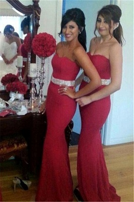 Gorgeous Mermaid Crystal Red Party Dress Sweetheart Bridesmaid Dress_2