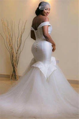 Glamorous Tulle Off-the-shoulder Mermaid Beads Lace-up Wedding Dresses with Sweep-Train_3