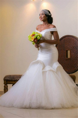 Glamorous Tulle Off-the-shoulder Mermaid Beads Lace-up Wedding Dresses with Sweep-Train_2