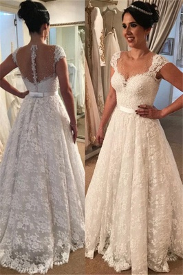 Modern Capped Sleeves Wedding Dress   Elegant Lace A-line Bridal Gowns_2
