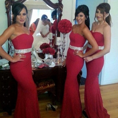 Gorgeous Mermaid Crystal Red Party Dress Sweetheart Bridesmaid Dress_3