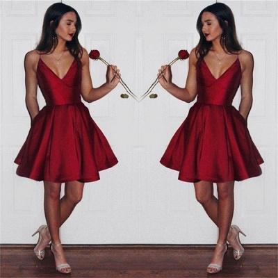 Newest Short Spaghetti-strap Sleeveless Ruby Homecoming Dress_4