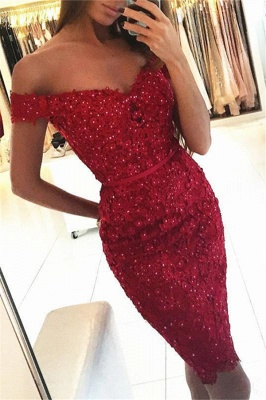 Beadings Short Sheath Red Off-the-Shoulder Sexy Appliques Homecoming Dress_2