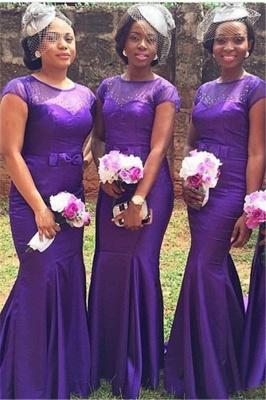 Popular Purple Short Sleeves Mermaid Beadings Bow Bridesmaid Dresses_2