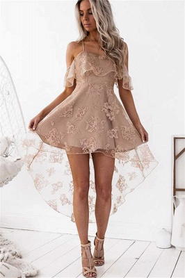 Cute A-line Hight-low Short Lace Homecoming Dress_2