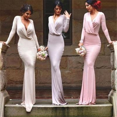 Elegant Long Sleeves V-neck Sheath Floor-length Bridesmaid Dress_4