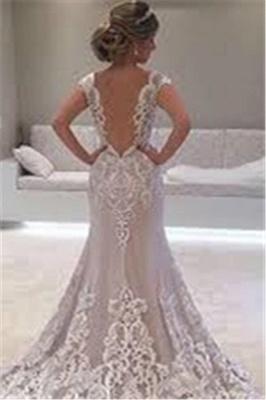 Elegant Cap-sleeve Floor-length Lace Mermaid Wedding Dress_3